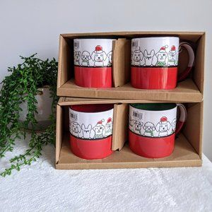 NWT Set 4 Red & Green Dog Fa-La-La Christmas Mugs